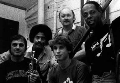 Left to Right: Dusko Goykovich on trumpet, Charles McPherson on sax, Larry Grenadier on bass, Larry Vuckovich, and Eddie Marshall on drums