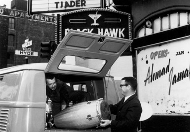 Black Hawk was one of the famous clubs where Miles recorded two live LPs/CDs.  Legendary vibraphonist Cal Tjader and his drummer/percussionist John Rae are unloading the van.