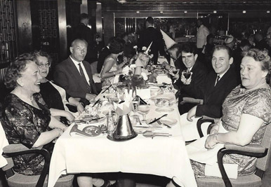 My friend, trumpet player Carlos Burns, shown here along with me on the SS Rotterdam sailing to Europe in '63, where we spent almost a year. 1963 included my first performances on the continent with Dexter Gordon, Don Byas, Paul Gonsalves, and European greats such as Niels Henning – Orsted Pedersen, Palle Mikkelborg and Bent Jaedig.  Other passengers on the SS Rotterdam included Johnny Griffin, and Babs Gonzales, whom were moving to Europe.